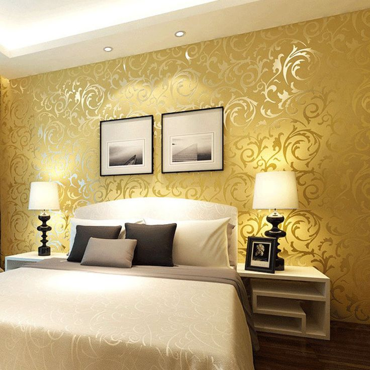 Diseño Floral Damasco con textura wallpaper Brillo para sala/dormitorio 10M Rollo