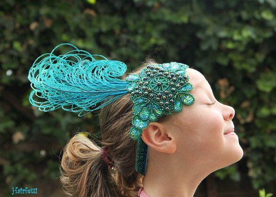 """Alzavola Shimmer enca fascia, fascia di Gatsby, copricapo degli anni venti, 20s prom, costume di danza, """"Bird of Paradise"""", copricapo di balletto, ballo Gatsby"""