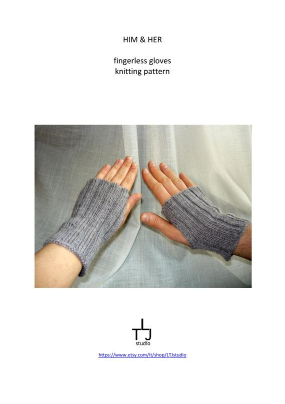 Him&Her fingerless gloves / mitts hand knitting pattern