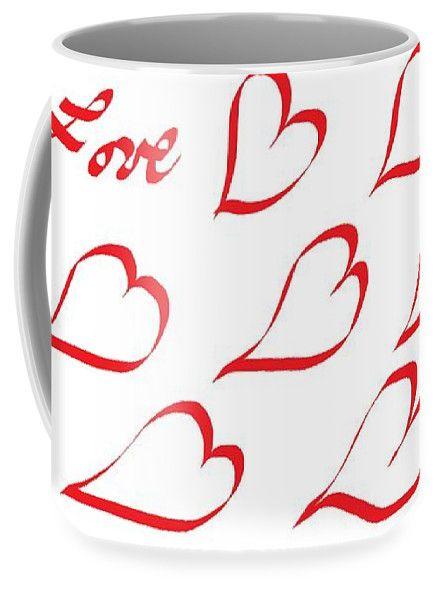Large Coffee Mugs (15 oz.) of 'Happy Valentine's Day 888' by Sumi e Master Linda Velasquez.
