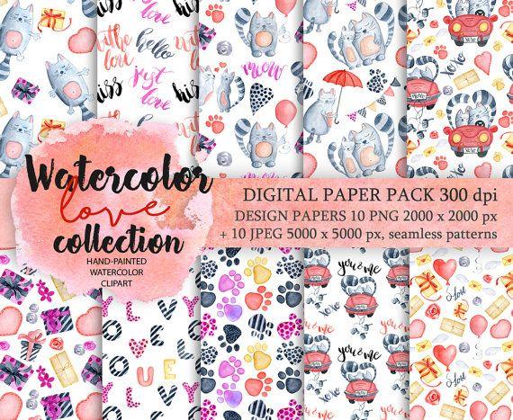 Digital Paper Pack Waterclor cats seamless pattern by EvgeniiasArt