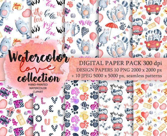 Digital Paper Pack Waterclor cats seamless pattern by EvgeniiasArt