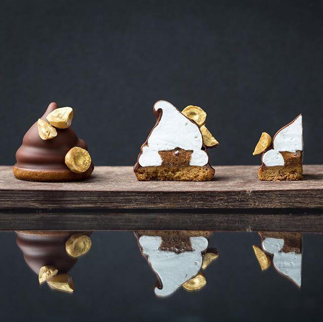"""Praline mallomar"" by L'Ecole Valrhona Pastry Chef Sarah Tibbetts: Valrhona 60% Hazelnut Praline Sable Cookie base topped with 50% Crunchy Praline and Marshmallow coated in a Valrhona BAHIBE 46% glaze!"