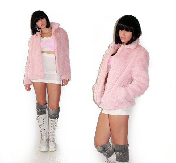 90's Furry Pink Pastel Goth Club Kid Faux Fur Light Pink Jacket