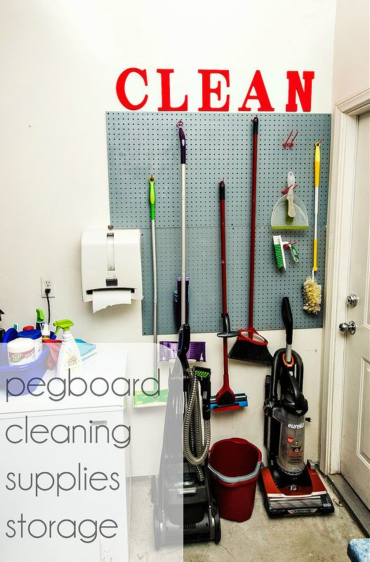 'pegboard cleaning supplies storage {DIY}...!' (via in the know mom)