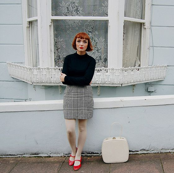 Primark Black High Neck Jumper, Beyond Retro Vintage Houndstooth Skirt, Office Red Patent Mary Janes, Vintage Cream Vanity Case - Hard Days ...