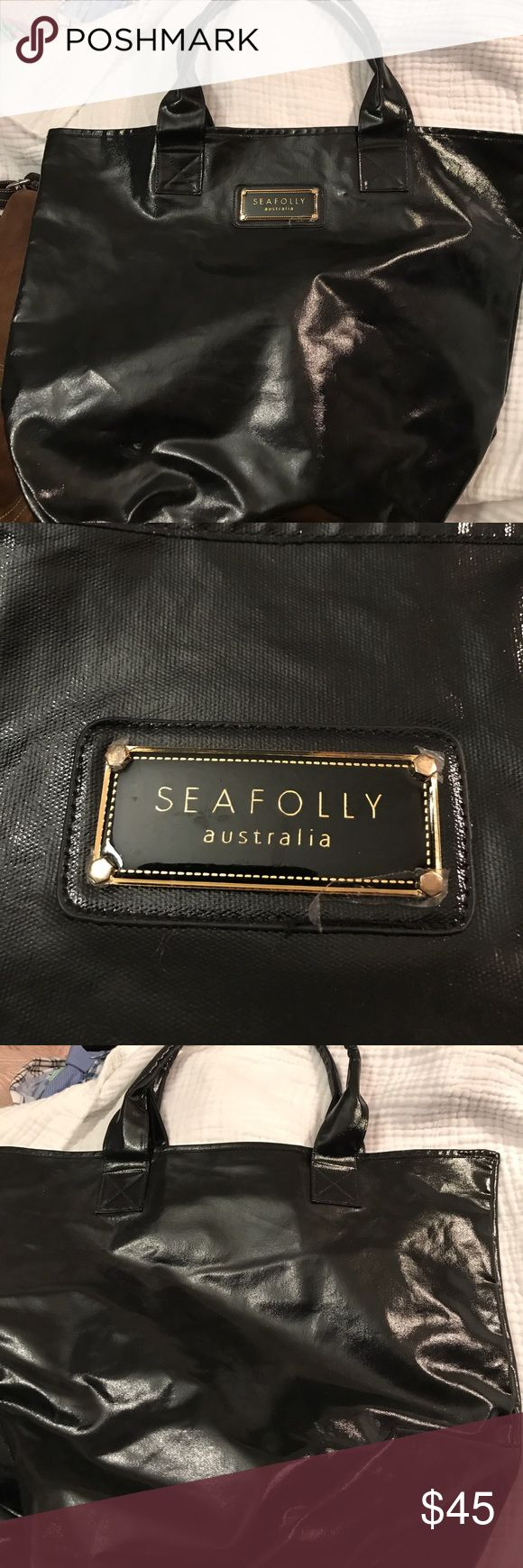 SEAFOLLY AUSTRALIA BLACK TEXTURED PATENT TOTE BAG 🎓⭐️🎓🎓COLLEGE FUNDRAISER 🎓⭐️🎓🎓SEAFOLLY AUSTRALIA BLACK TEXTURED PATENT BIGBAG-its gigantic--it's like new--shiny like material GIGANTIC TOTE BIG BAG Seafolly Bags Totes