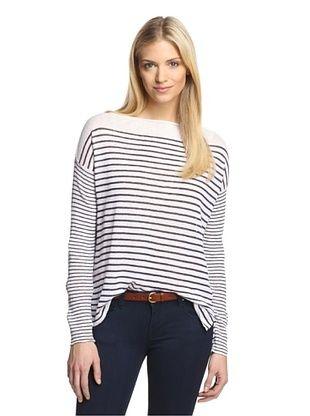47% OFF Gold Heart Women's French Sailor Stripe Sweater (Salt/Navy)