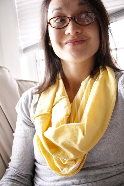 "I was wandering through Walmart trying to find a check out stand when I saw this yellow striped knit tank top on a clearance rack! In my head I shrieked ""Cowl scarf! I found you!"" I know…I am a little crazy. At least I didn't say it out loud…at least I don't think I did. :) I have been wanting to make a cowl scarf but haven't found the resources"