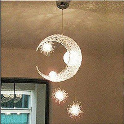 Goeco Aluminium Lampe de Lune Etoiles pour enfant Chambre Suspension Lustre lumière plafonnier moderne Balcon Lampe