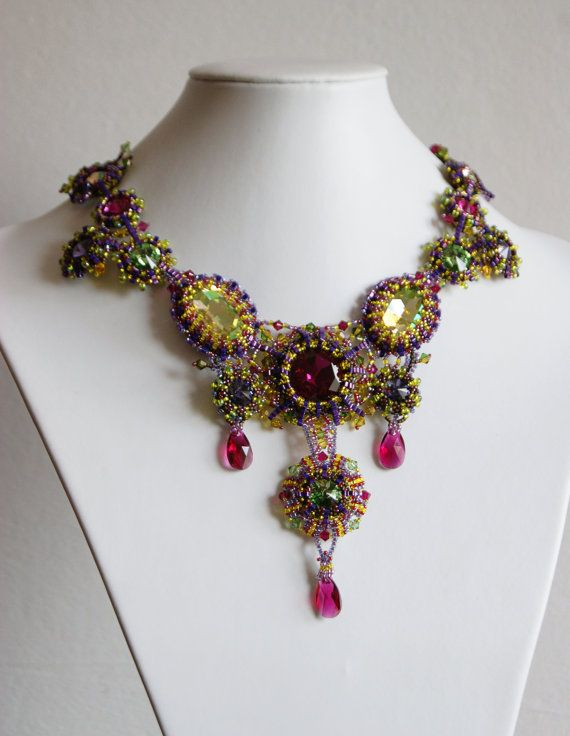 Embroidered Necklace Tropicalembroidered by InviolaJewerly on Etsy