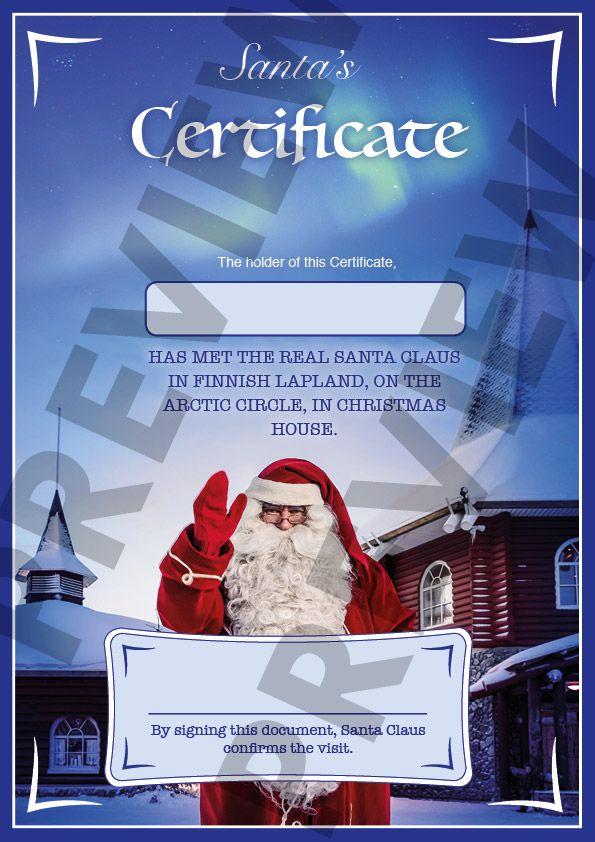 Santa Claus Certificates: Certificate of niceness and meeting Santa Claus