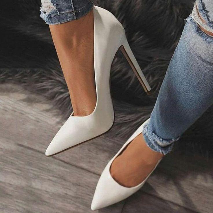 White Classic Pointed Toe Stiletto