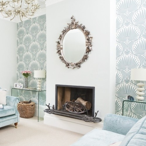 damask wallpaper, silver scroll mirror