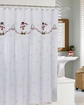 Snowman Fabric Shower Curtain