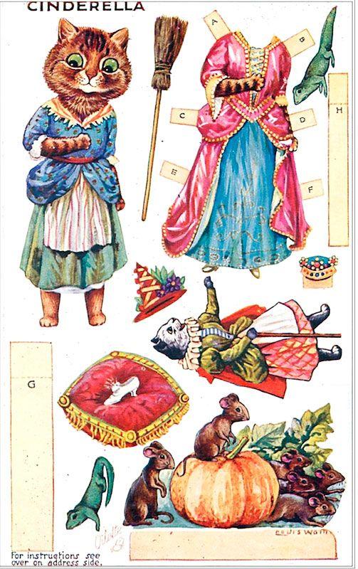 Cinderella Louis Wain Paper Doll