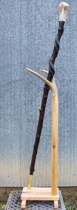 Naturally Twisted Walking Stick, Elk Antler Top Handle