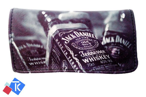 Jack Daniel Printing Tobacco Case Rolling Cigar Pouch Wallet PU Leather Cigar