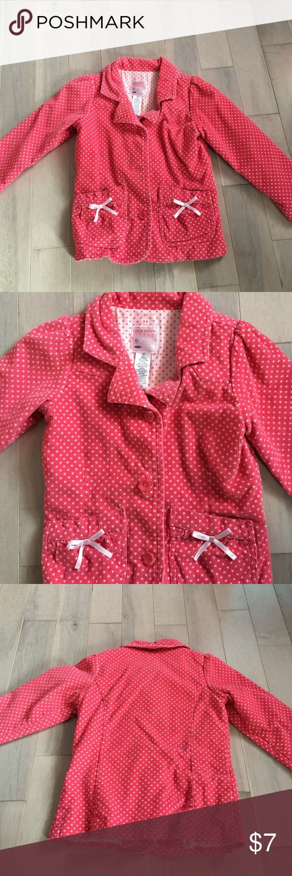 Girls jacket Cute pink and white dots with flower buttons. Two pockets in front with little bows. Took a pic of the back. It has 2 pen stains and shows in price. Old Navy Jackets & Coats