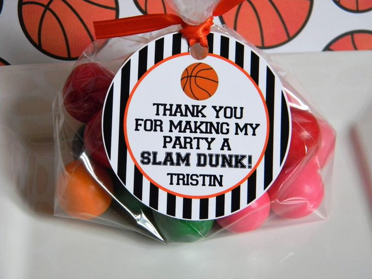 Basketball Birthday Party Personalized Favor Tags, Thank You Tags, Treat Tags, Goody Bags,  Party Favors, Party Decorations, Set of 12 by sweetheartpartyshop on Etsy https://www.etsy.com/listing/52657 (Basketball Party)