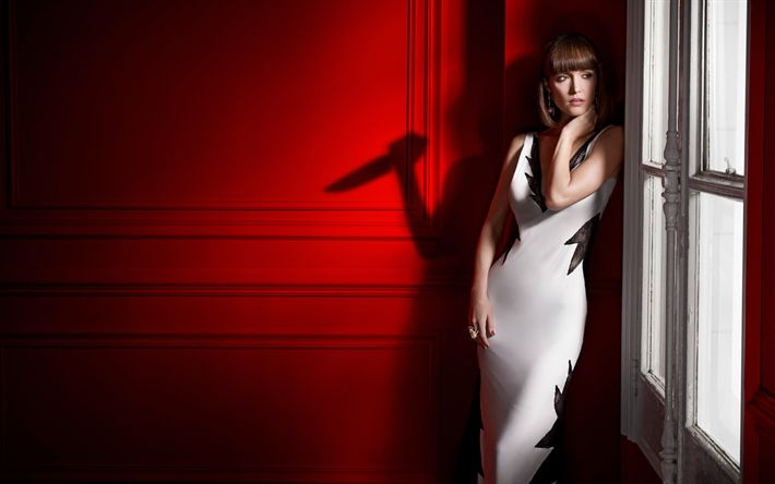 Download wallpapers Damages, Rose Byrne, TV series, Australian actress, 4K, white dress, beautiful woman, Ellen Parsons