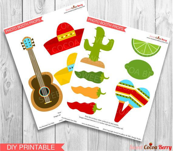 Fiesta Photo Booth Props Printable Mexican By Sweetcocoaberry 399