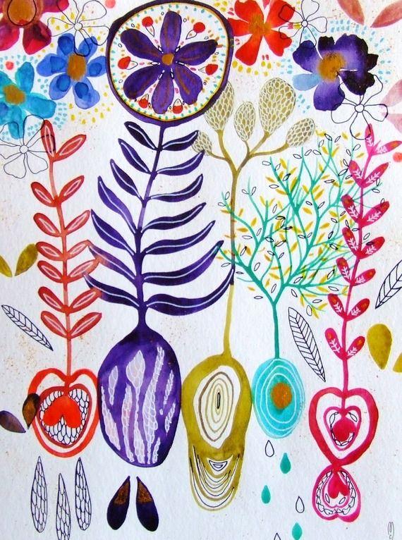 Plantes fleurs peinture jardin art contemporain décor maison art nature peinture violet bleu