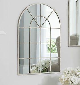 "Kelford Large Arched Window Metal Frame Cream Wall Mirror  35.5"" x 23.5"""