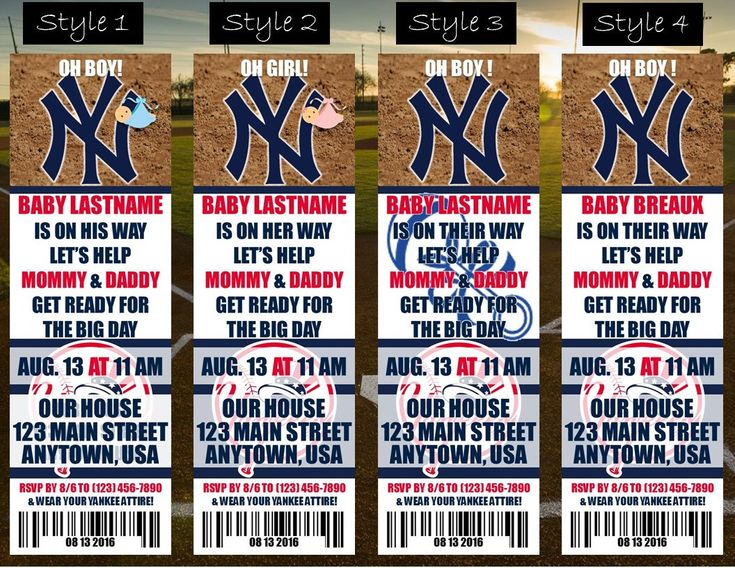 Baby shower: New York Yankees The Bronx Themed Baby Shower Invitation Tickets - Baseball Shower Invitations - Personalized by OutOfNormal on Etsy https://www.etsy.com/listing/507696365/baby-shower-new-york-yankees-the-bronx