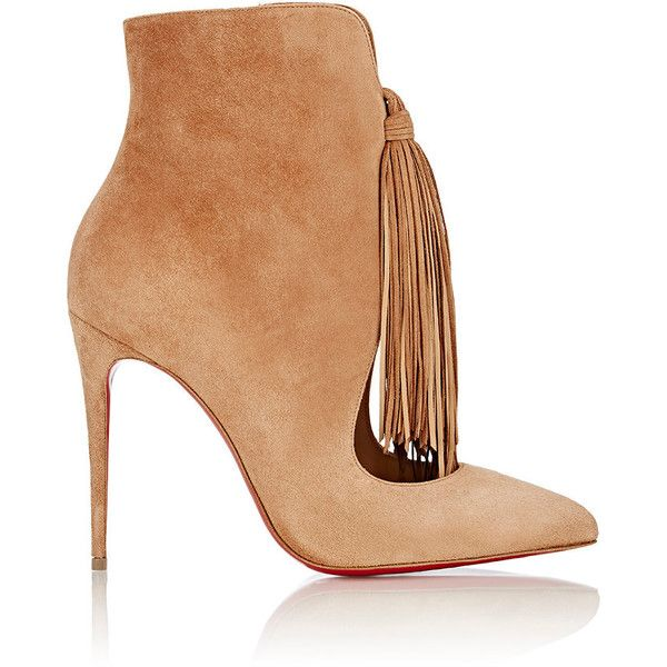 Christian Louboutin Fringed Ottocarl Ankle Boots found on Polyvore featuring shoes, boots, ankle booties, heels, ankle boots, nude, high heel booties, fringe ankle boots, cut out booties and suede fringe boots