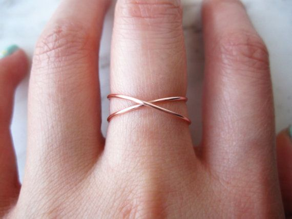 Rose Gold X ring//rose gold criss cross ring by TheHumbleRing