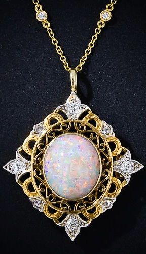 Victorian Opal and Diamond Necklace #opalsaustralia