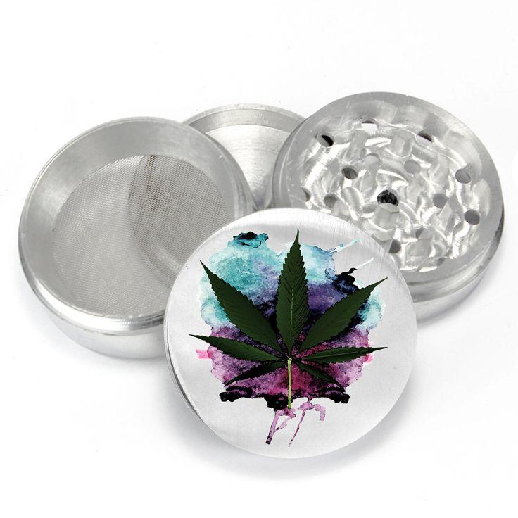 4pc Aluminum UV Printed Herb Grinder - Watercolor Leaf