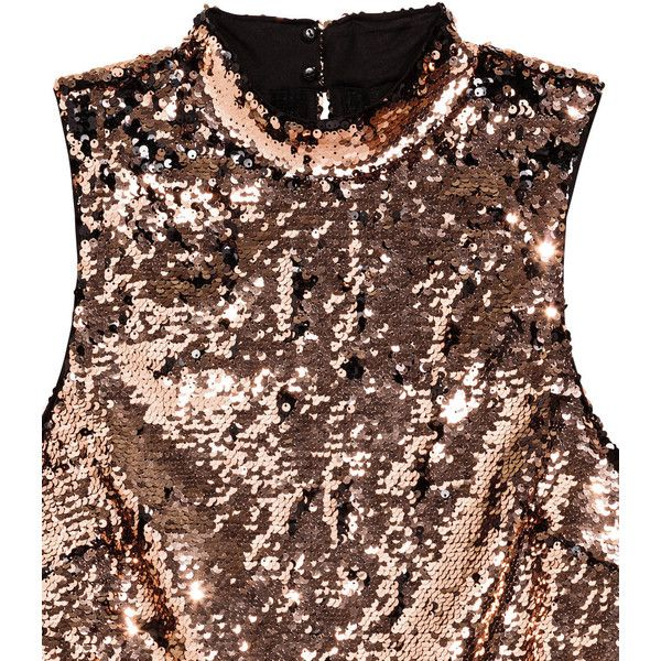 H&M Sequined Dress $34.99 (340 MAD) ❤ liked on Polyvore featuring dresses, knee length cocktail dresses, brown sequin dress, h&m dresses, brown cocktail dress and brown jersey