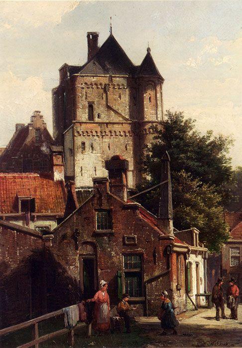 Paintings Reproductions Koekkoek, Willem Figures In The Streets Of Harderwijk