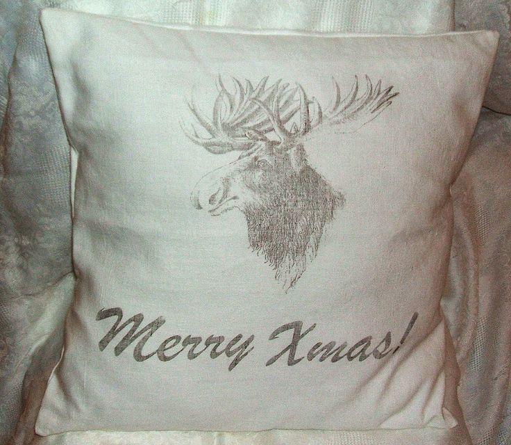 Merry Xmas pillow with rendeer