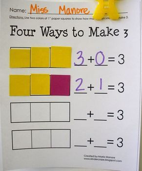 This is a set of 4 worksheet designed to help students develop the skill of decomposing numbers 2, 3, 5, and 6 using 1