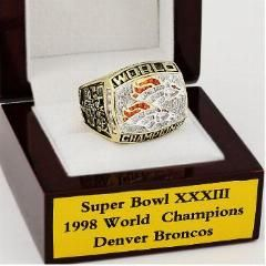 [ 27% OFF ] Wholesale Replica 1998 Xxxii Denver Broncos Ring Super Bowl Football Championship Rings With Gorgeous Wooden Boxes