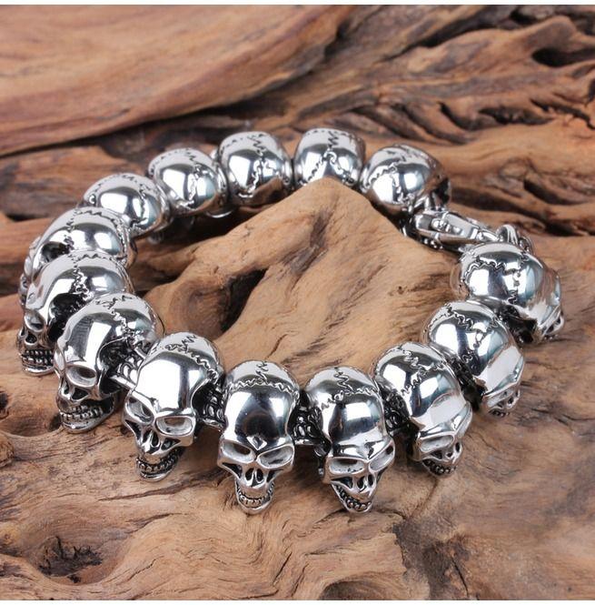 Rebelsmarket gothic skull biker titanium stainless steel mens bracelet bracelets 8