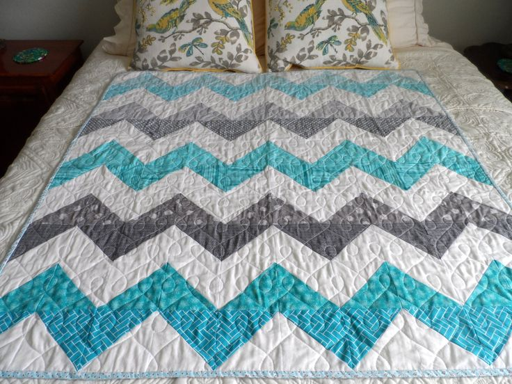 Chevron baby quilt, crib quilt, aqua and gray, modern baby quilt, baby bedding, baby shower gift, toddler quilt, lap quilt, quiltsy handmade by SusansPassion on Etsy