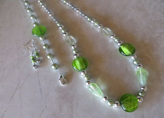 Vibrant #Green Unique and Mixed-Matched Beaded #Jewelry Set by AlliFlair on Etsy, $27.00 Free shipping worldwide with tracking number!
