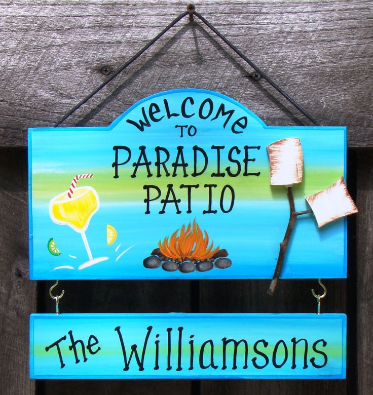 Welcome To Our Patio Paradise Backyard Picnic Camp Sign With Your Name  Drink Margarita Beach Summer