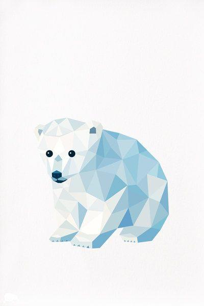 Polar Bear Cub, Geometric illustration, Animal print, Original illustration