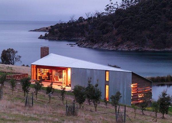 Shearers Quarters designed by John Wardle Architects on a sheep farm on North Bruny Island in Tasmania, Australia