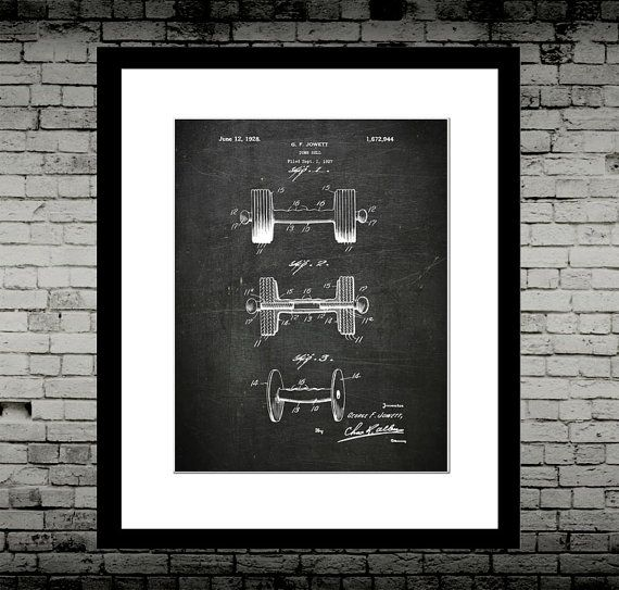 """Dumbell US Patent - Industrial Art - Inspirational Print Art - Wall Art, Nursery, On Archive Paper 8x10""""      Printed on matt Fine art  paper. FRAME NOT INCLUDED. High quality print. Postage up to 14 days.  Use discount code: SAVEONGYM at checkout if buying the 3x set of Industrial GYM Art prints to save on shipping!    Also available in:    8x10""""  A4  A3  A2  A1      Custom background colours available instead of the smoky black such as pastel pink or navy blue.See my other listings for…"""