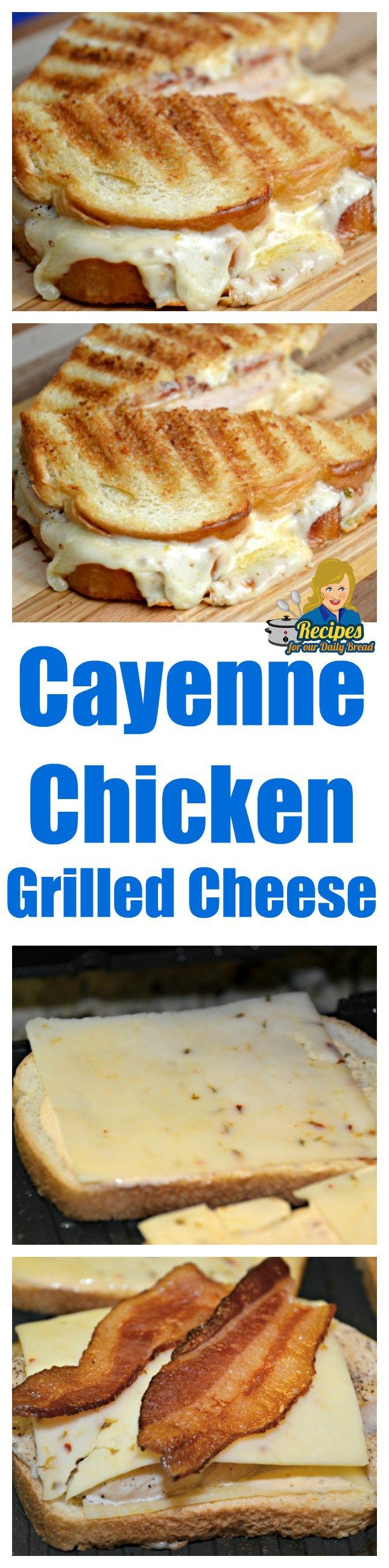 Cayenne Ranch Chicken Grilled Cheese includes bacon, Monterey Jack cheese, Cayenne Ranch, and a cooked chicken breast I butterflied. SEE video on post.