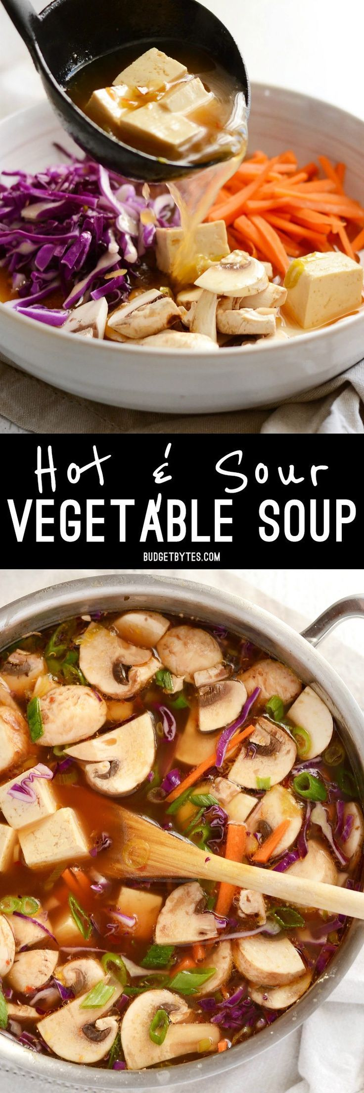 This hot & sour vegetable soup is light on the stomach, but not light on flavor! The spicy and tangy broth infuses the tofu and vegetables for maximum impact.