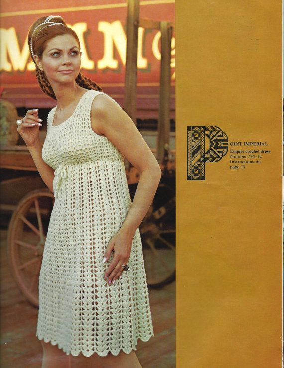 1970s Empire Waist Dress Lacy Style   Crochet pattern by eStitches, $3.75
