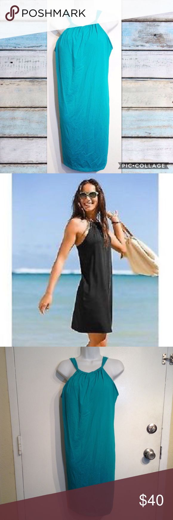 """ATHLETA Kokomo Teal Tie Back Swim Dress ATHLETA Kokomo swim dress. Ties in back so straps can be worn normally or crossed in back. 2nd photo is stock photo of same item in different color to show fit. Stretchy quick dry swimsuit material but in a regular length dress. Does not have built in bottoms so you can wear your own. Built in bra. Perfect for swimming, working out, or just a hot summer day. Size large. Measures 16.5"""" flat from armpit to armpit and 40"""" long. Smoke free home. I do…"""