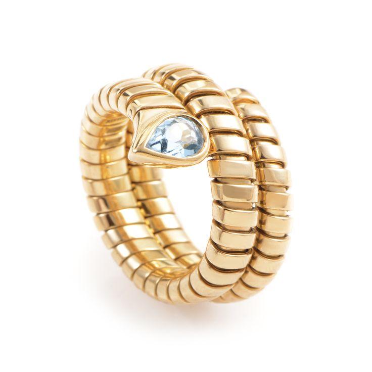 estate bvlgari tubogas 18k yellow gold topaz ring special price bulgari ringsring